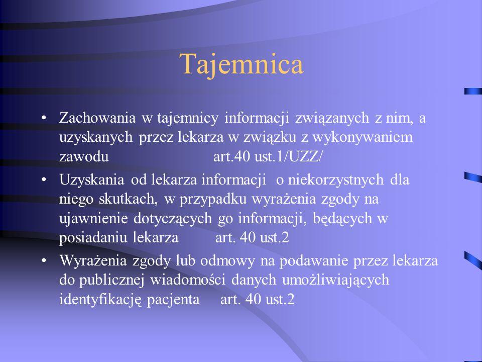 Tajemnica Zachowania w tajemnicy informacji związanych z nim, a uzyskanych przez lekarza w związku z wykonywaniem zawodu art.40 ust.1/UZZ/ Uzyskania o