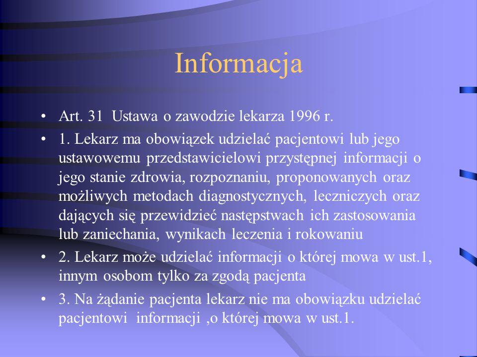 Informacja Art. 31 Ustawa o zawodzie lekarza 1996 r. 1. Lekarz ma obowiązek udzielać pacjentowi lub jego ustawowemu przedstawicielowi przystępnej info