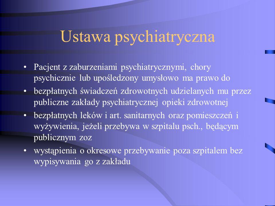 Ustawa psychiatryczna Pacjent z zaburzeniami psychiatrycznymi, chory psychicznie lub upośledzony umysłowo ma prawo do bezpłatnych świadczeń zdrowotnych udzielanych mu przez publiczne zakłady psychiatrycznej opieki zdrowotnej bezpłatnych leków i art.