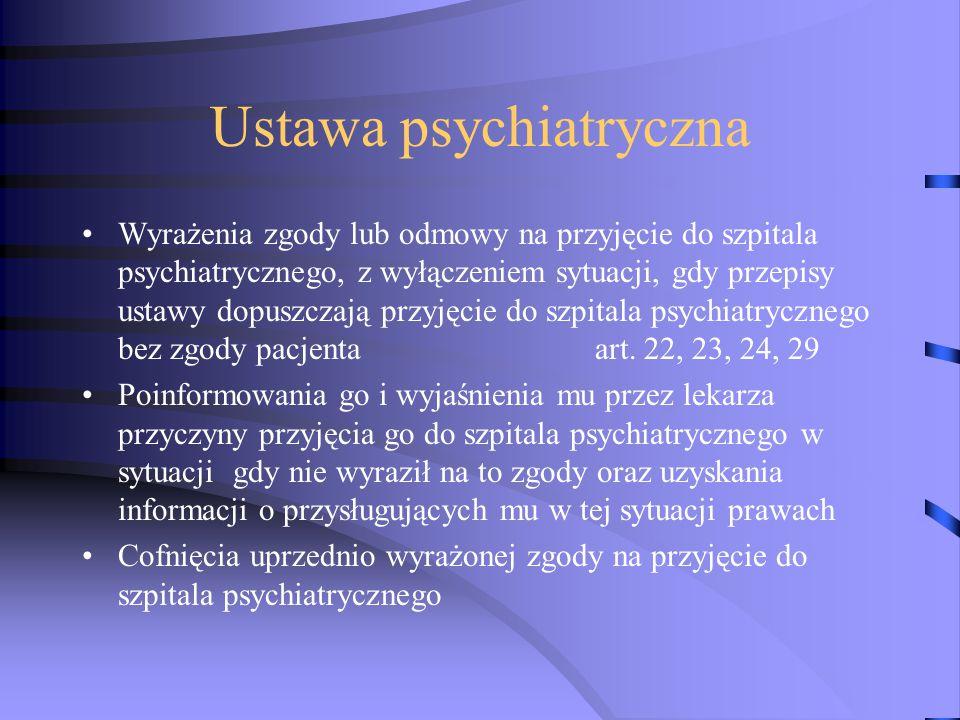 Ustawa psychiatryczna Wyrażenia zgody lub odmowy na przyjęcie do szpitala psychiatrycznego, z wyłączeniem sytuacji, gdy przepisy ustawy dopuszczają przyjęcie do szpitala psychiatrycznego bez zgody pacjenta art.