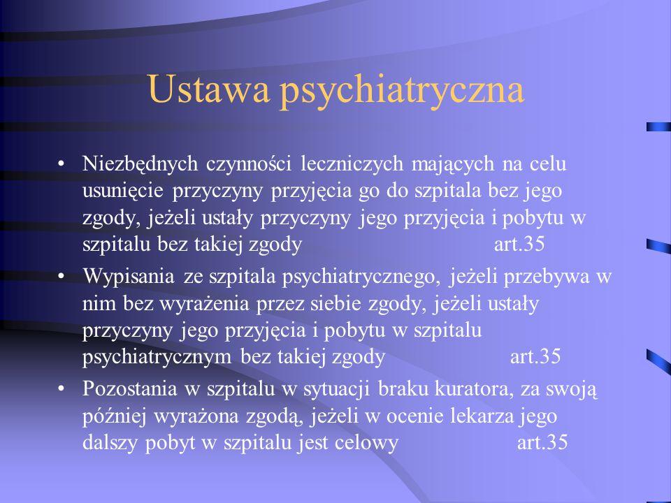 Ustawa psychiatryczna Niezbędnych czynności leczniczych mających na celu usunięcie przyczyny przyjęcia go do szpitala bez jego zgody, jeżeli ustały przyczyny jego przyjęcia i pobytu w szpitalu bez takiej zgody art.35 Wypisania ze szpitala psychiatrycznego, jeżeli przebywa w nim bez wyrażenia przez siebie zgody, jeżeli ustały przyczyny jego przyjęcia i pobytu w szpitalu psychiatrycznym bez takiej zgody art.35 Pozostania w szpitalu w sytuacji braku kuratora, za swoją później wyrażona zgodą, jeżeli w ocenie lekarza jego dalszy pobyt w szpitalu jest celowy art.35