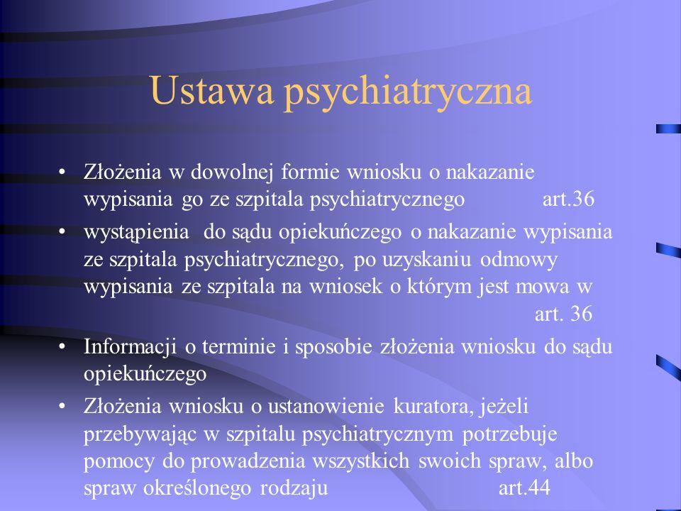 Ustawa psychiatryczna Złożenia w dowolnej formie wniosku o nakazanie wypisania go ze szpitala psychiatrycznego art.36 wystąpienia do sądu opiekuńczego o nakazanie wypisania ze szpitala psychiatrycznego, po uzyskaniu odmowy wypisania ze szpitala na wniosek o którym jest mowa w art.