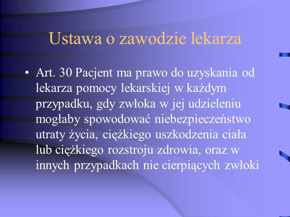 Ustawa o zawodzie lekarza Art. 30 Pacjent ma prawo do uzyskania od lekarza pomocy lekarskiej w każdym przypadku, gdy zwłoka w jej udzieleniu mogłaby s