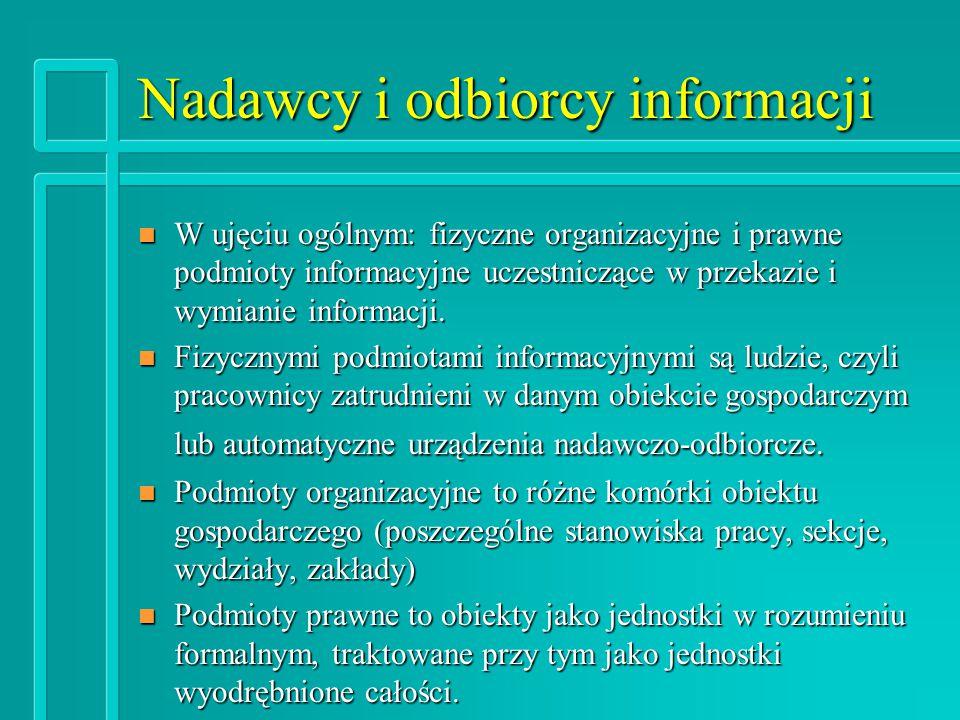 Nadawcy i odbiorcy informacji n W ujęciu ogólnym: fizyczne organizacyjne i prawne podmioty informacyjne uczestniczące w przekazie i wymianie informacji.