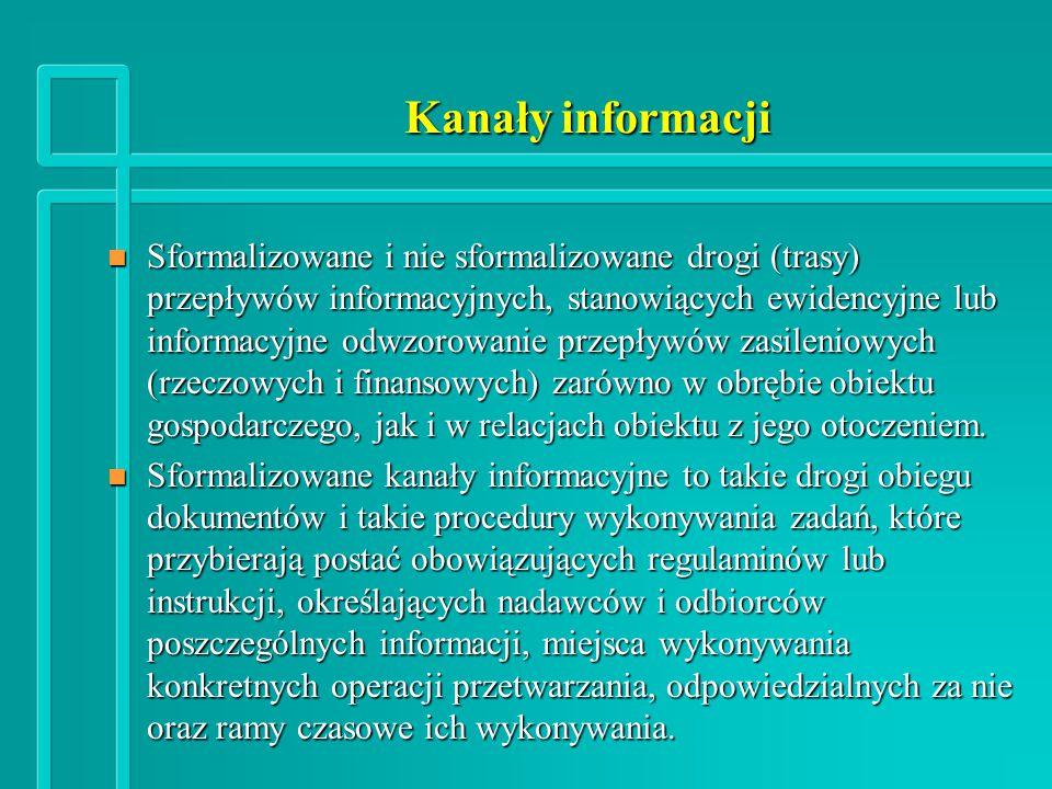 Kanały informacji n Sformalizowane i nie sformalizowane drogi (trasy) przepływów informacyjnych, stanowiących ewidencyjne lub informacyjne odwzorowanie przepływów zasileniowych (rzeczowych i finansowych) zarówno w obrębie obiektu gospodarczego, jak i w relacjach obiektu z jego otoczeniem.