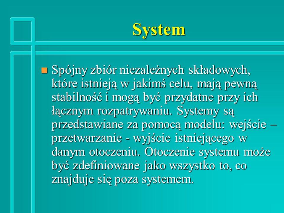 System n Spójny zbiór niezależnych składowych, które istnieją w jakimś celu, mają pewną stabilność i mogą być przydatne przy ich łącznym rozpatrywaniu.