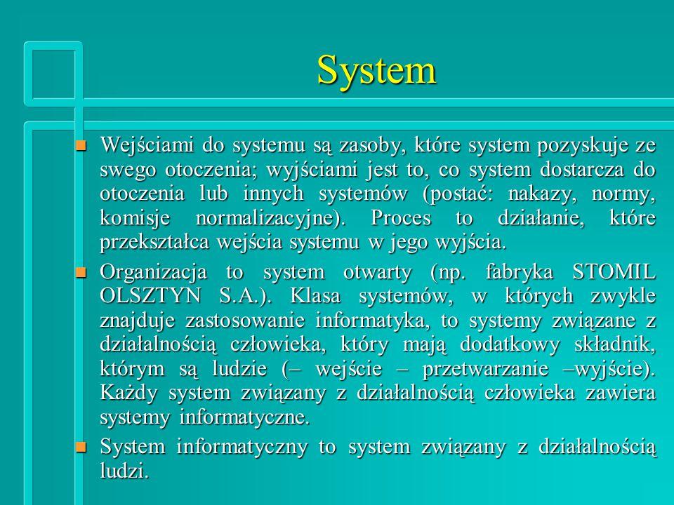 System n Wejściami do systemu są zasoby, które system pozyskuje ze swego otoczenia; wyjściami jest to, co system dostarcza do otoczenia lub innych systemów (postać: nakazy, normy, komisje normalizacyjne).
