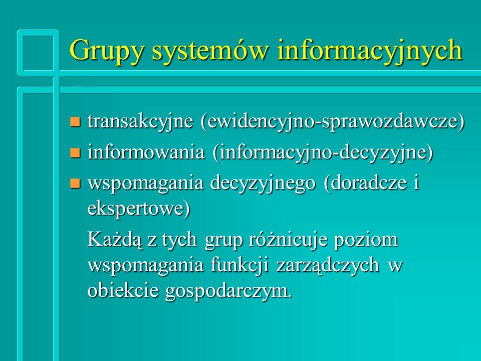 Grupy systemów informacyjnych n transakcyjne (ewidencyjno-sprawozdawcze) n informowania (informacyjno-decyzyjne) n wspomagania decyzyjnego (doradcze i ekspertowe) Każdą z tych grup różnicuje poziom wspomagania funkcji zarządczych w obiekcie gospodarczym.