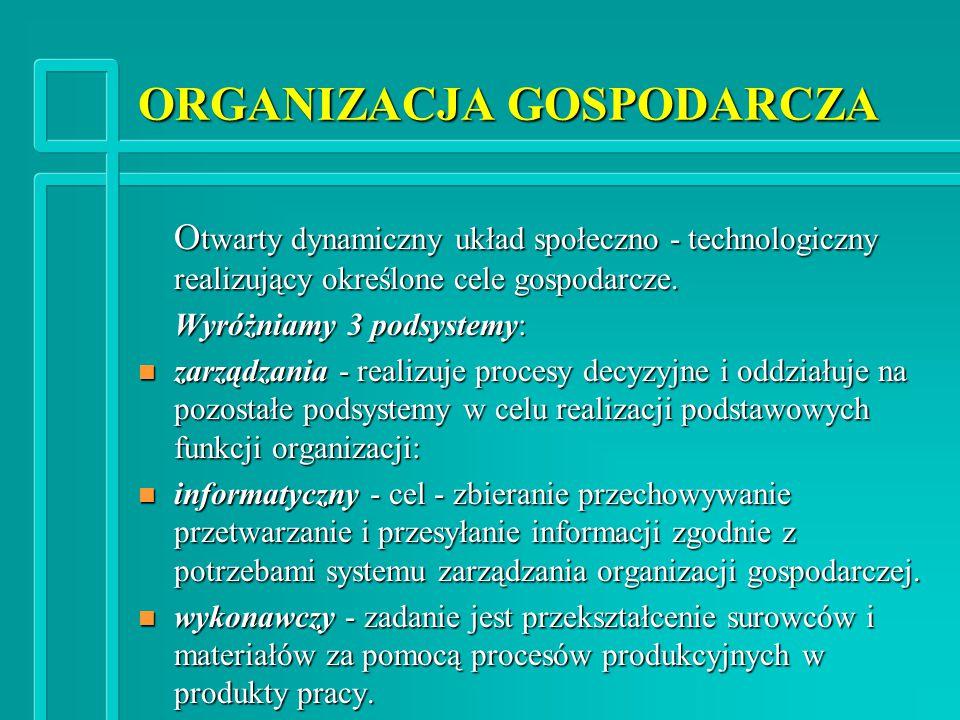 ORGANIZACJA GOSPODARCZA O twarty dynamiczny układ społeczno - technologiczny realizujący określone cele gospodarcze.