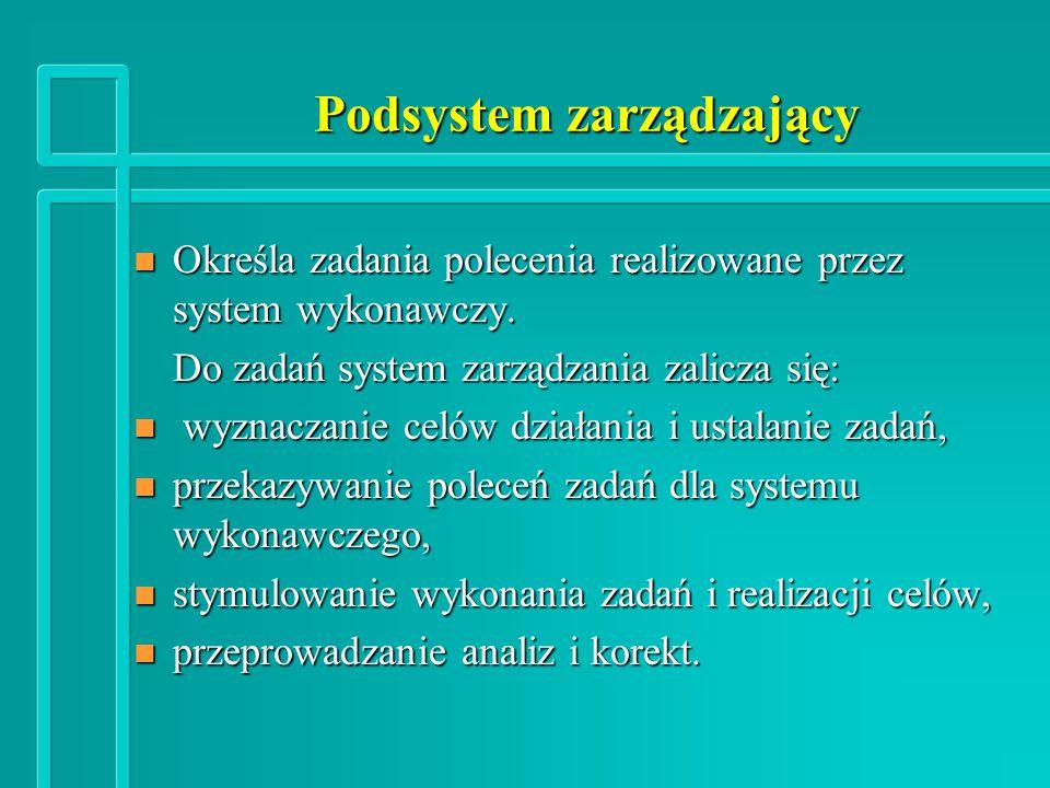 Podsystem zarządzający n Określa zadania polecenia realizowane przez system wykonawczy.