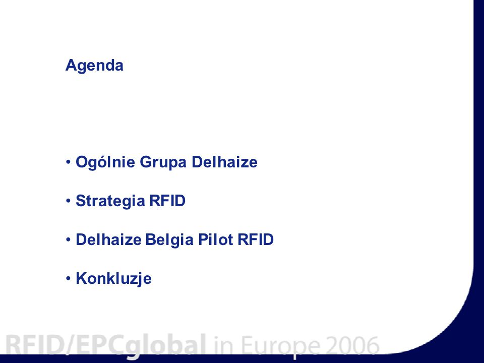 Agenda Ogólnie Grupa Delhaize Strategia RFID Delhaize Belgia Pilot RFID Konkluzje