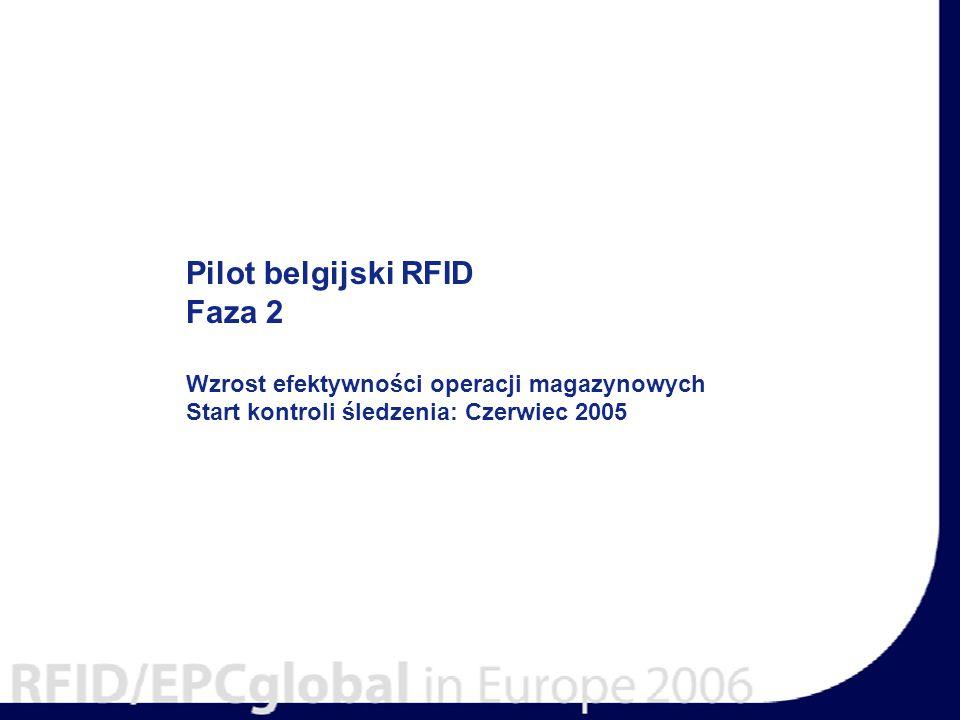 Pilot belgijski RFID Faza 2 Wzrost efektywności operacji magazynowych Start kontroli śledzenia: Czerwiec 2005