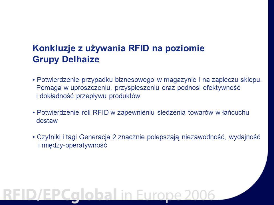 Konkluzje z używania RFID na poziomie Grupy Delhaize Potwierdzenie przypadku biznesowego w magazynie i na zapleczu sklepu.