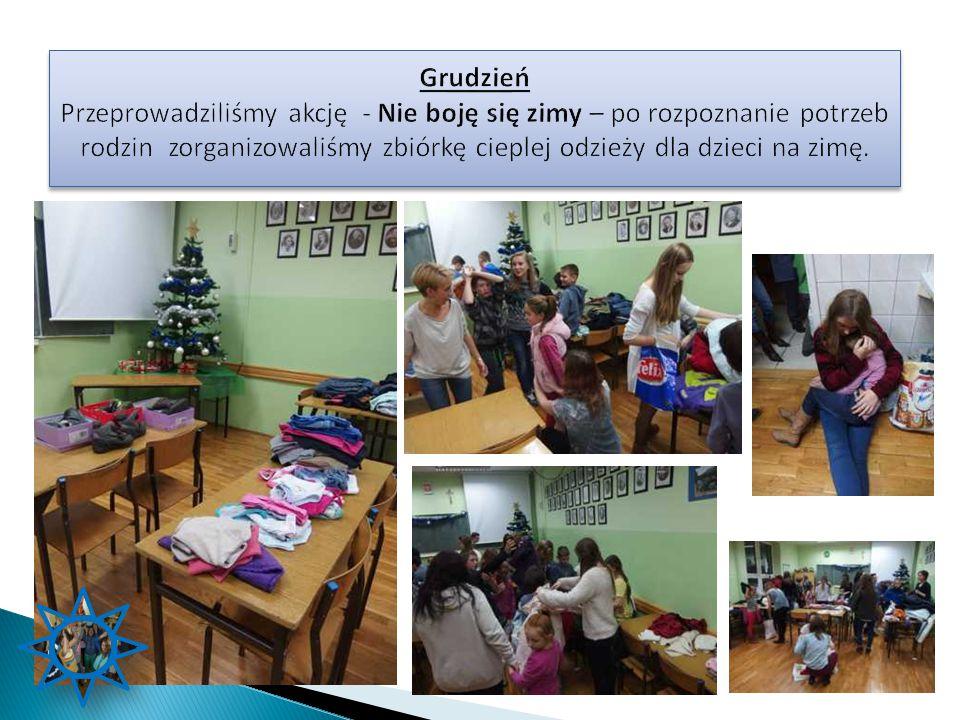 Grudzień Przeprowadziliśmy akcję - Nie boję się zimy – po rozpoznanie potrzeb rodzin zorganizowaliśmy zbiórkę cieplej odzieży dla dzieci na zimę.