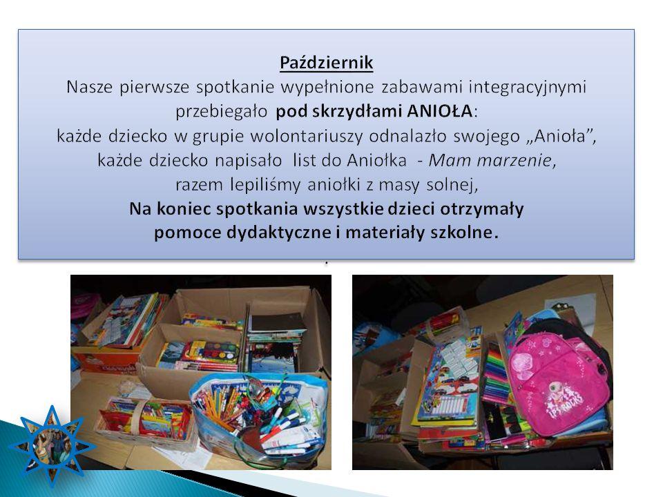 Październik Nasze pierwsze spotkanie wypełnione zabawami integracyjnymi przebiegało pod skrzydłami ANIOŁA: każde dziecko w grupie wolontariuszy odnala