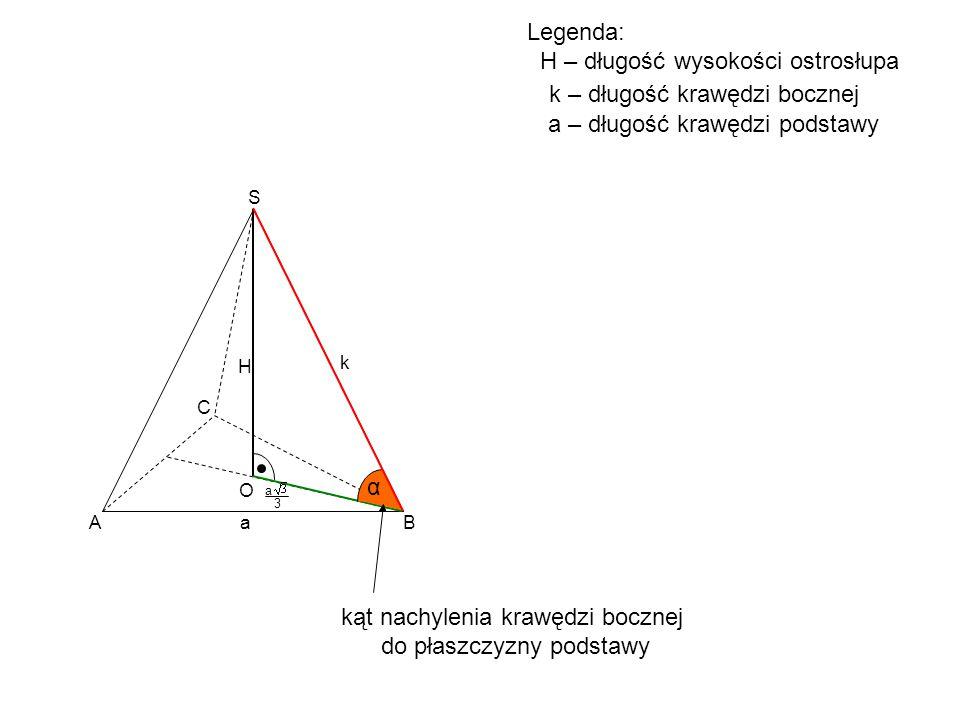 A B C S H O α kąt nachylenia krawędzi bocznej do płaszczyzny podstawy a 3 a k Legenda: H – długość wysokości ostrosłupa k – długość krawędzi bocznej a
