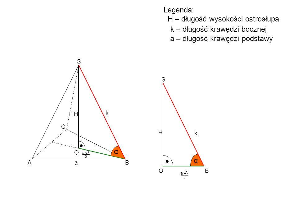 A B C S H O α B S H O α a 3 a 3 a k k k – długość krawędzi bocznej a – długość krawędzi podstawy Legenda: H – długość wysokości ostrosłupa