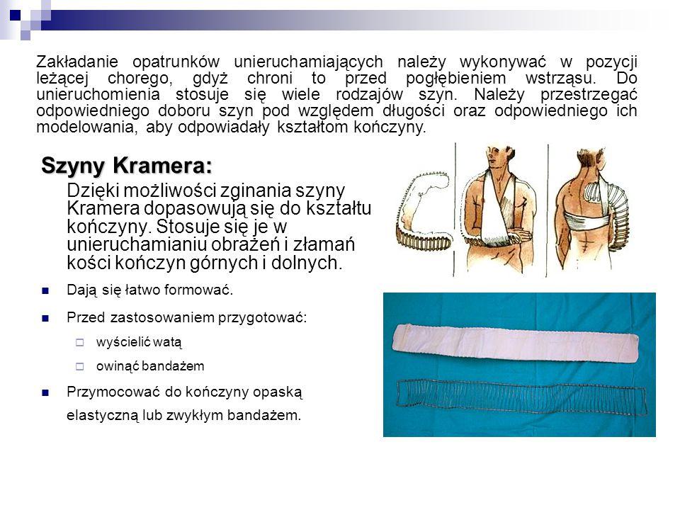 Szyny Kramera: Dzięki możliwości zginania szyny Kramera dopasowują się do kształtu kończyny.