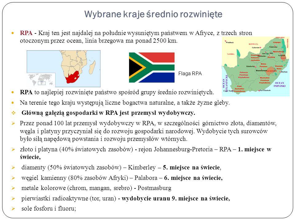 Wybrane kraje średnio rozwinięte RPA - Kraj ten jest najdalej na południe wysuniętym państwem w Afryce, z trzech stron otoczonym przez ocean, linia br