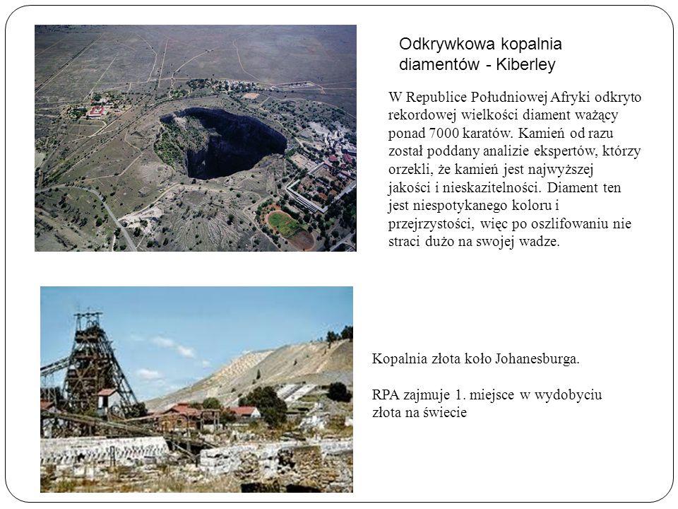 Odkrywkowa kopalnia diamentów - Kiberley W Republice Południowej Afryki odkryto rekordowej wielkości diament ważący ponad 7000 karatów. Kamień od razu