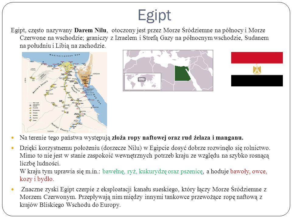 Egipt Egipt, często nazywany Darem Nilu, otoczony jest przez Morze Śródziemne na północy i Morze Czerwone na wschodzie; graniczy z Izraelem i Strefą G