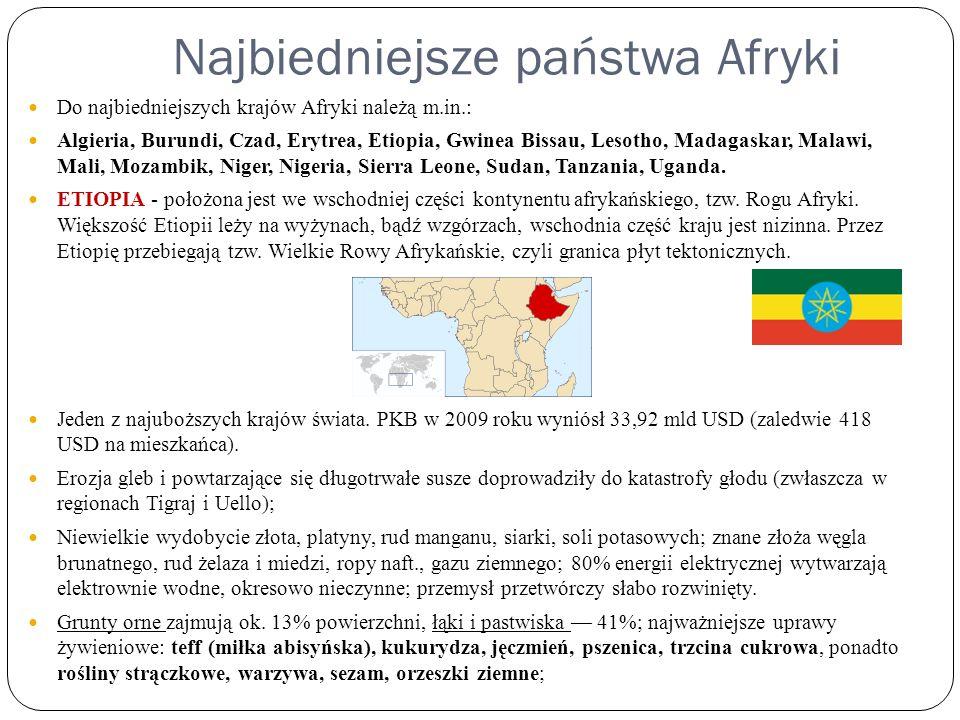 Najbiedniejsze państwa Afryki Do najbiedniejszych krajów Afryki należą m.in.: Algieria, Burundi, Czad, Erytrea, Etiopia, Gwinea Bissau, Lesotho, Madag