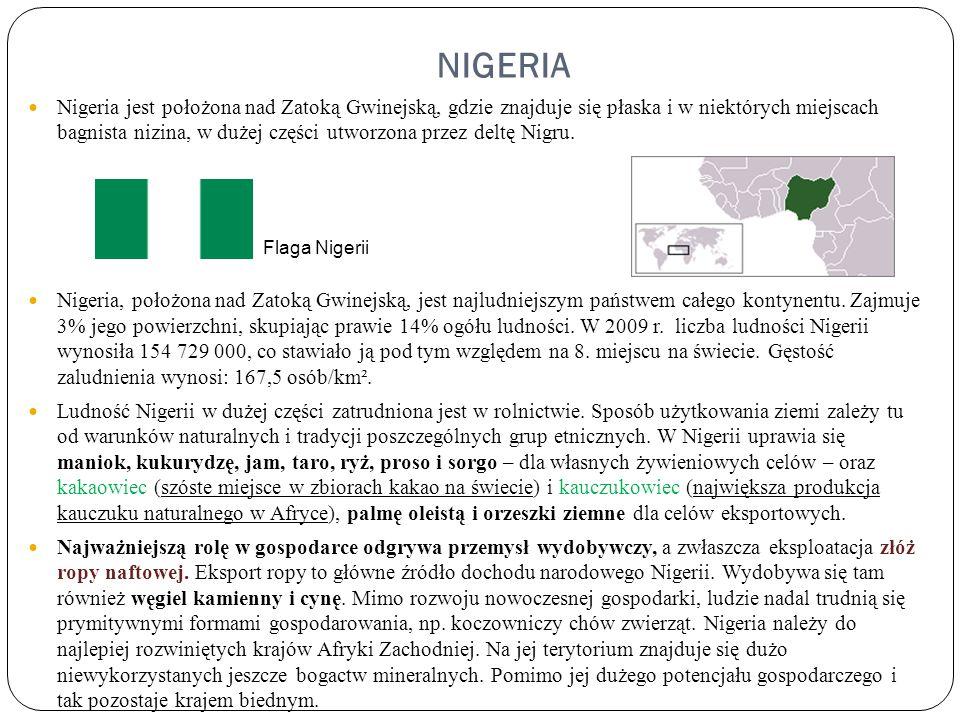 NIGERIA Nigeria jest położona nad Zatoką Gwinejską, gdzie znajduje się płaska i w niektórych miejscach bagnista nizina, w dużej części utworzona przez