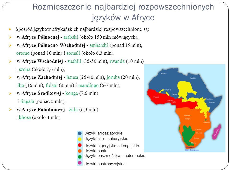 Rozmieszczenie najbardziej rozpowszechnionych języków w Afryce Spośród języków afrykańskich najbardziej rozpowszechnione są:  w Afryce Północnej - ar