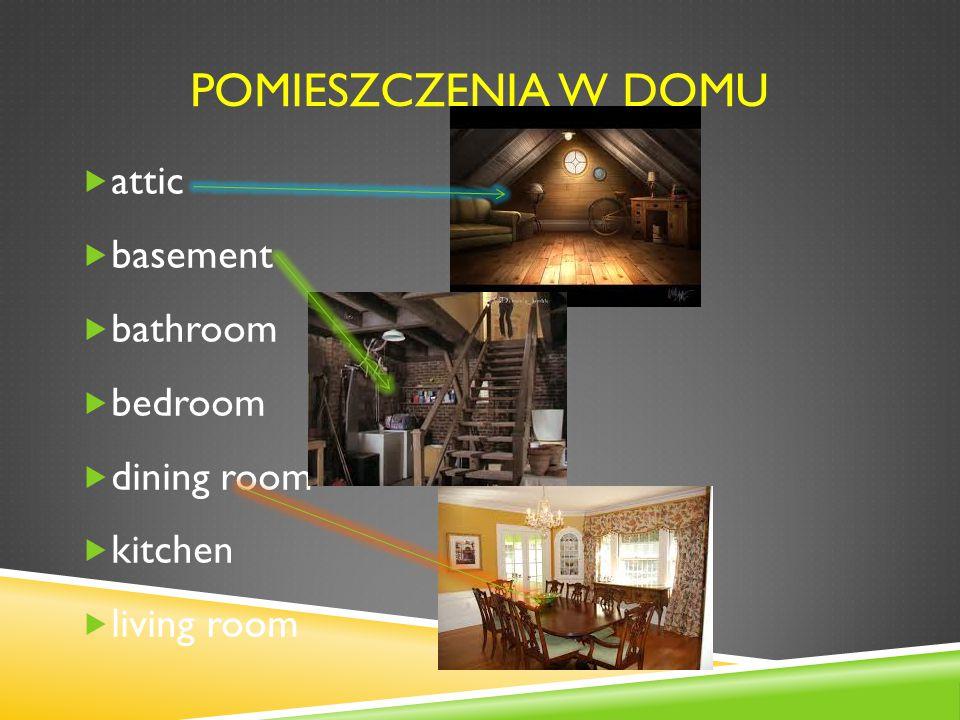 POMIESZCZENIA W DOMU  attic  basement  bathroom  bedroom  dining room  kitchen  living room