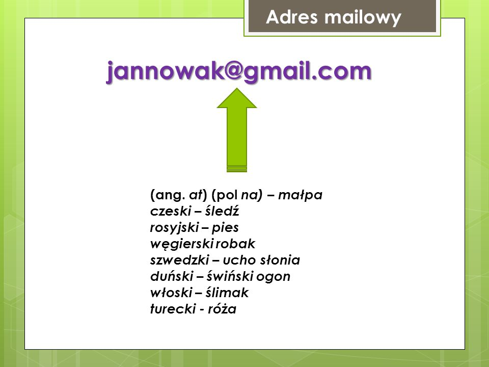 Adres mailowy jannowak@gmail.com (ang.