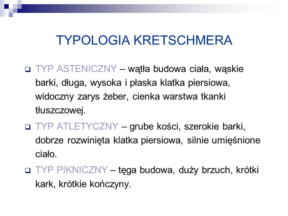 TYPOLOGIA KRETSCHMERA  TYP ASTENICZNY – wątła budowa ciała, wąskie barki, długa, wysoka i płaska klatka piersiowa, widoczny zarys żeber, cienka warst