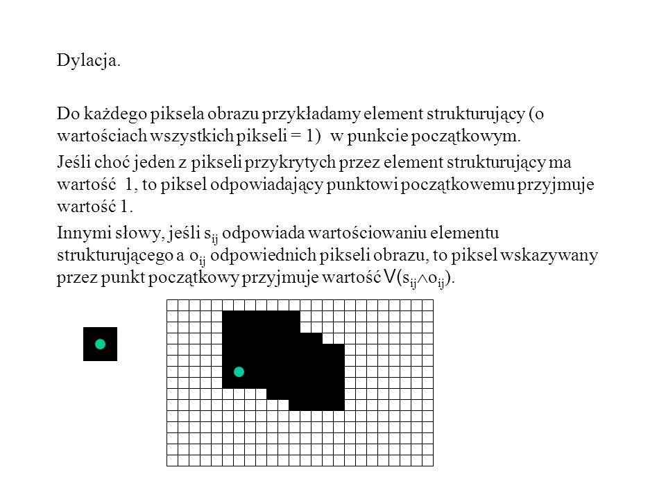Dylacja. Do każdego piksela obrazu przykładamy element strukturujący (o wartościach wszystkich pikseli = 1) w punkcie początkowym. Jeśli choć jeden z