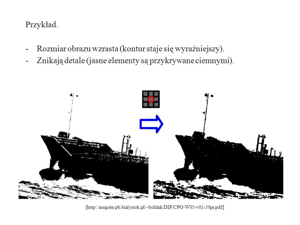 Przykład. -Rozmiar obrazu wzrasta (kontur staje się wyraźniejszy). -Znikają detale (jasne elementy są przykrywane ciemnymi). [http://aragorn.pb.bialys