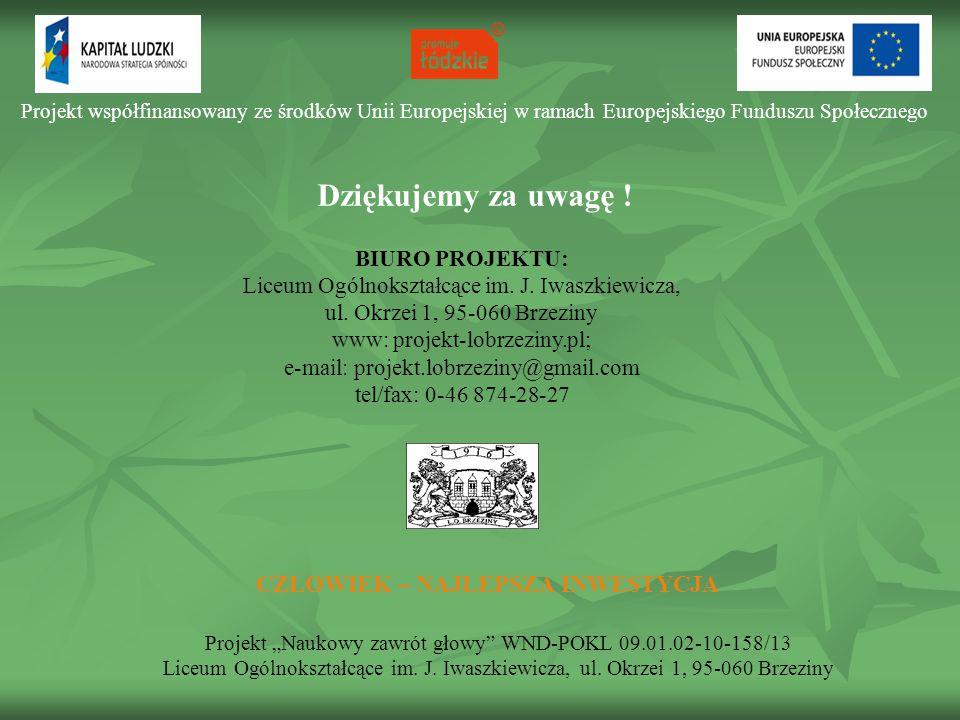 """Projekt współfinansowany ze środków Unii Europejskiej w ramach Europejskiego Funduszu Społecznego CZŁOWIEK – NAJLEPSZA INWESTYCJA Projekt """"Naukowy zaw"""