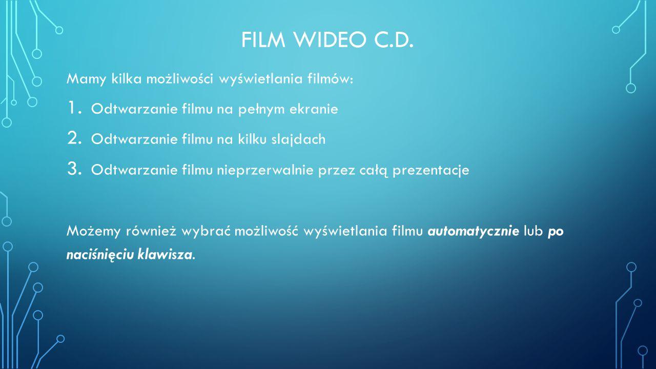 FILM WIDEO C.D. Mamy kilka możliwości wyświetlania filmów: 1. Odtwarzanie filmu na pełnym ekranie 2. Odtwarzanie filmu na kilku slajdach 3. Odtwarzani