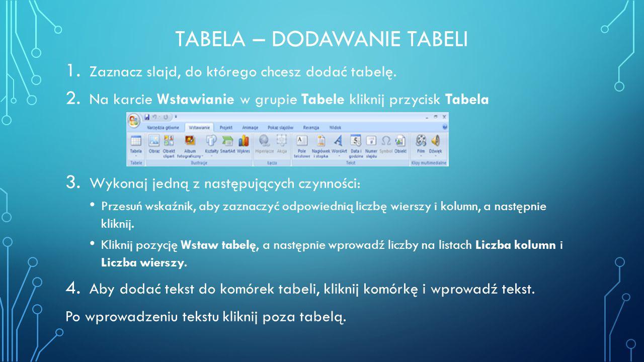 TABELA – DODAWANIE TABELI 1. Zaznacz slajd, do którego chcesz dodać tabelę. 2. Na karcie Wstawianie w grupie Tabele kliknij przycisk Tabela 3. Wykonaj