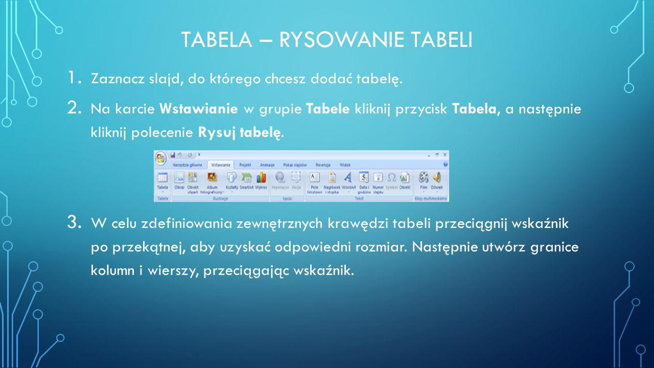 TABELA – RYSOWANIE TABELI 1. Zaznacz slajd, do którego chcesz dodać tabelę. 2. Na karcie Wstawianie w grupie Tabele kliknij przycisk Tabela, a następn