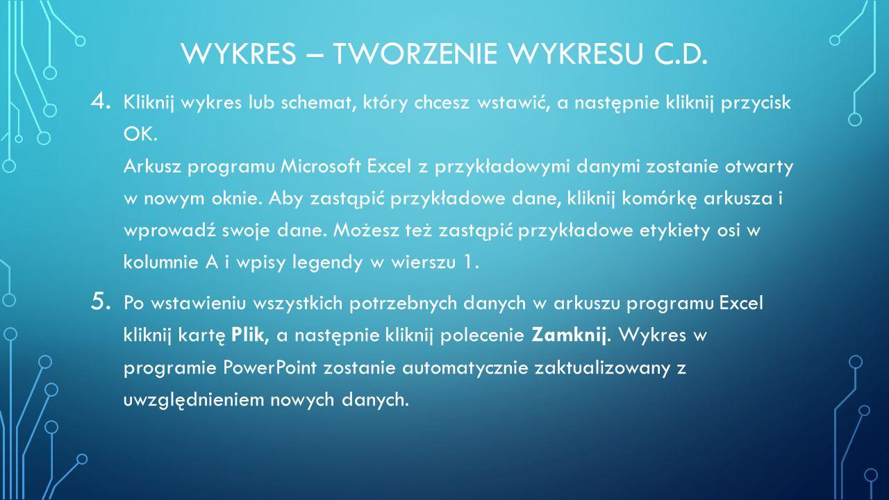 WYKRES – TWORZENIE WYKRESU C.D. 4. Kliknij wykres lub schemat, który chcesz wstawić, a następnie kliknij przycisk OK. Arkusz programu Microsoft Excel