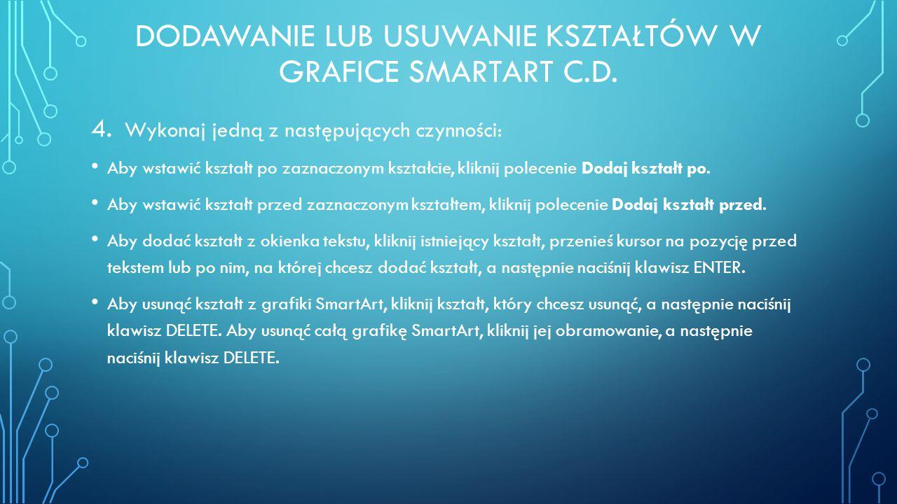 ZMIENIANIE KOLORÓW CAŁEJ GRAFIKI SMARTART 1.Kliknij grafikę SmartArt.
