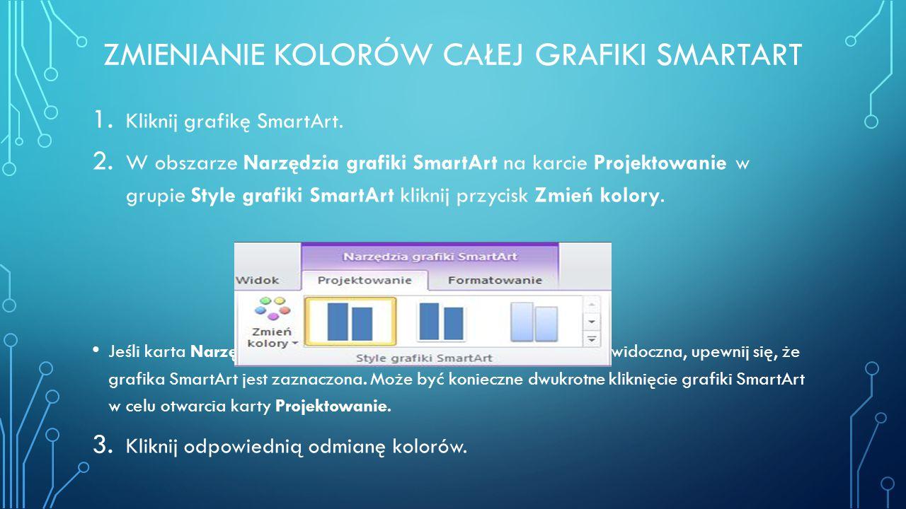 ZMIENIANIE KOLORÓW CAŁEJ GRAFIKI SMARTART 1. Kliknij grafikę SmartArt. 2. W obszarze Narzędzia grafiki SmartArt na karcie Projektowanie w grupie Style