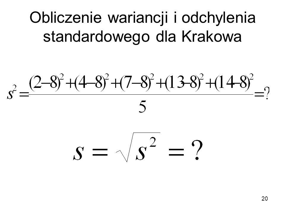 20 Obliczenie wariancji i odchylenia standardowego dla Krakowa