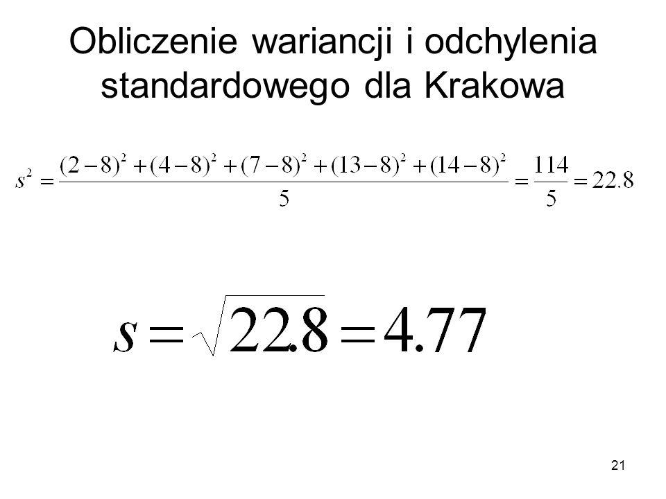 21 Obliczenie wariancji i odchylenia standardowego dla Krakowa