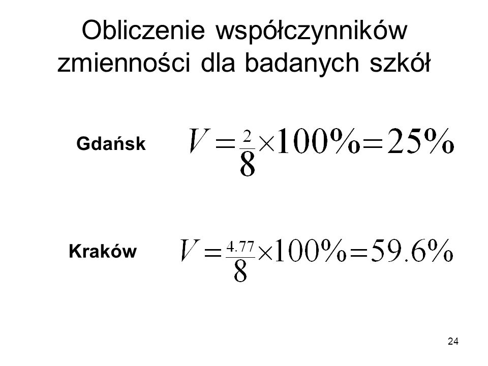 24 Obliczenie współczynników zmienności dla badanych szkół Gdańsk Kraków