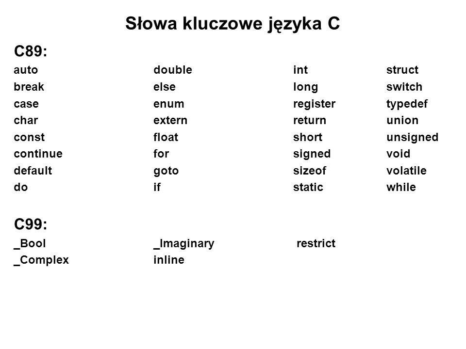Słowa kluczowe języka C C89: auto double intstruct breakelselongswitch case enumregistertypedef charexternreturnunion constfloatshortunsigned continue