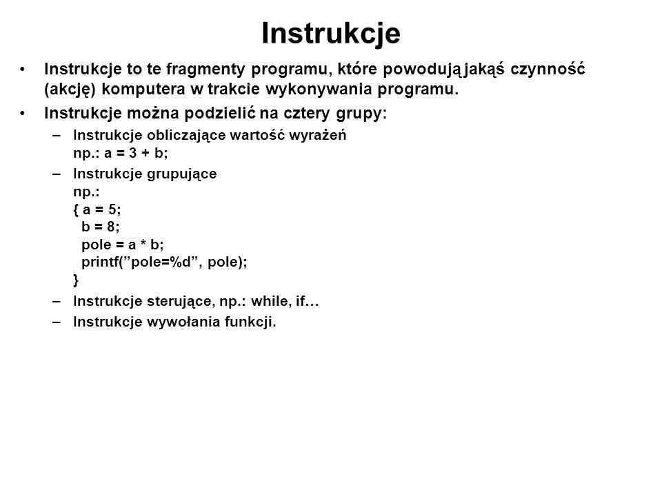 Instrukcje Instrukcje to te fragmenty programu, które powodują jakąś czynność (akcję) komputera w trakcie wykonywania programu. Instrukcje można podzi