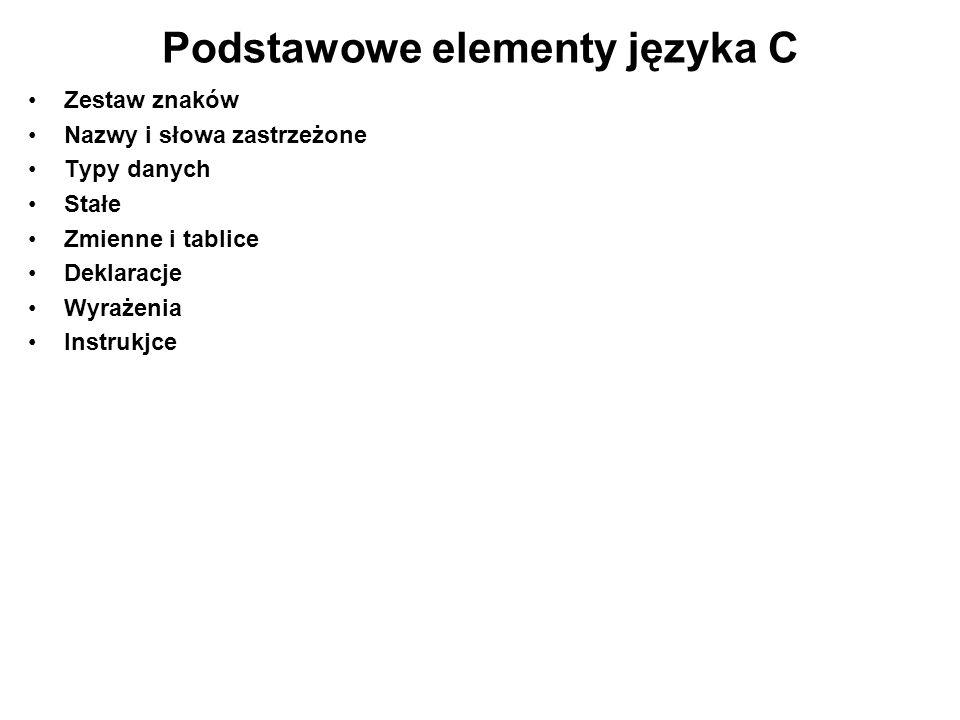 Podstawowe elementy języka C Zestaw znaków Nazwy i słowa zastrzeżone Typy danych Stałe Zmienne i tablice Deklaracje Wyrażenia Instrukjce