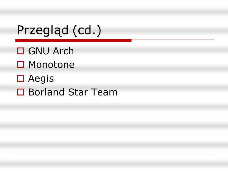 Przegląd (cd.)  GNU Arch  Monotone  Aegis  Borland Star Team