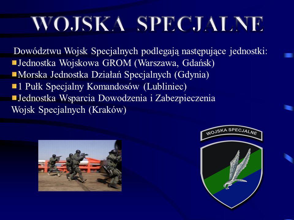 Dowództwu Wojsk Specjalnych podlegają następujące jednostki: Jednostka Wojskowa GROM (Warszawa, Gdańsk) Morska Jednostka Działań Specjalnych (Gdynia)