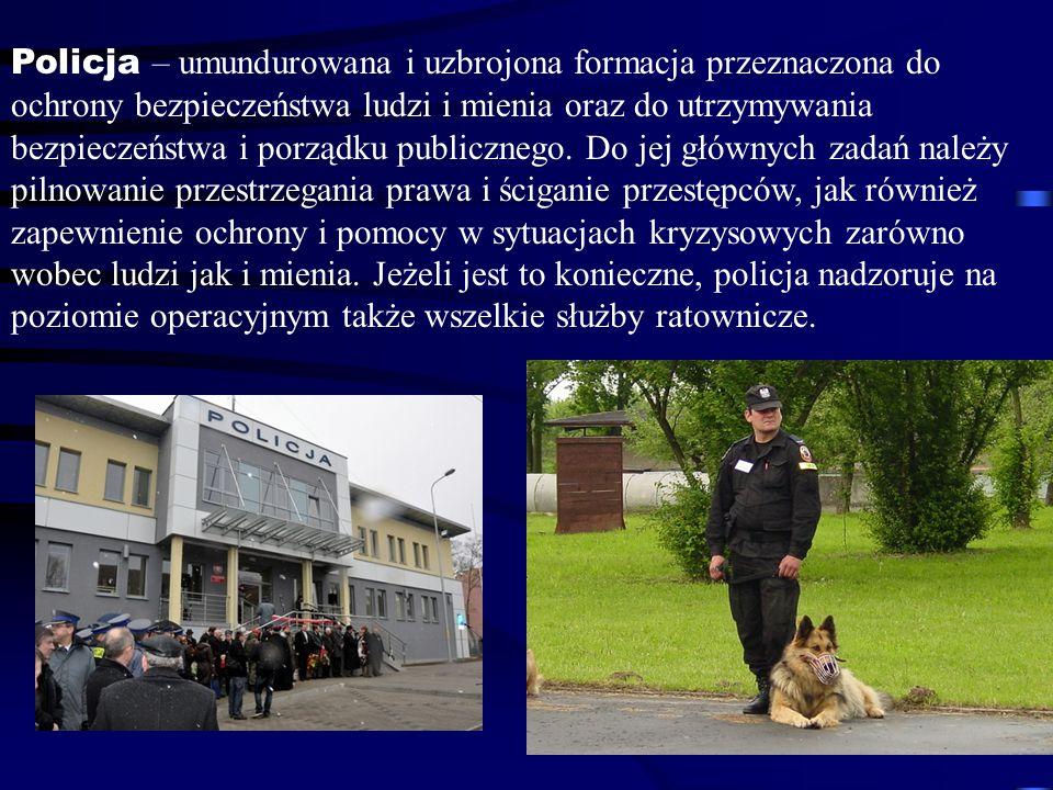 Policja – umundurowana i uzbrojona formacja przeznaczona do ochrony bezpieczeństwa ludzi i mienia oraz do utrzymywania bezpieczeństwa i porządku publi