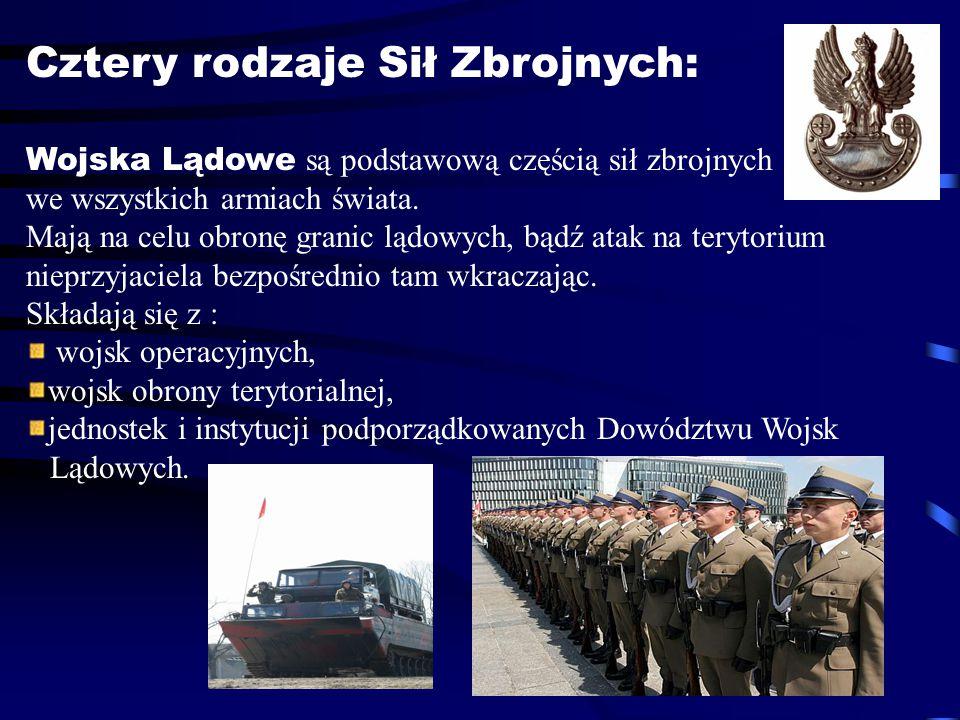 Cztery rodzaje Sił Zbrojnych: Wojska Lądowe są podstawową częścią sił zbrojnych we wszystkich armiach świata. Mają na celu obronę granic lądowych, bąd